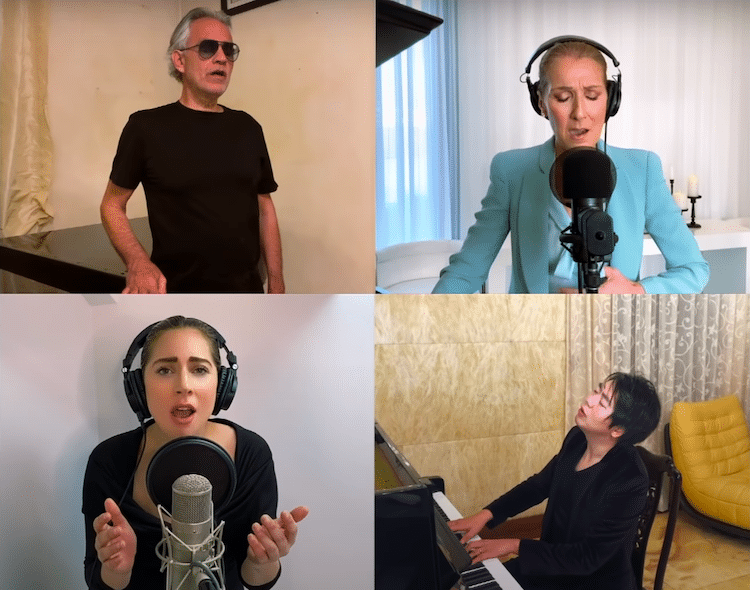 Lady Gaga Céline Dion Andrea Bocelli et Lang Lang interprétant «The Prayer»